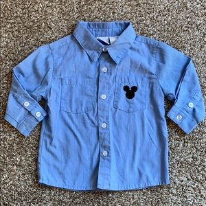 Disney pinstripe embroidered Mickey button down